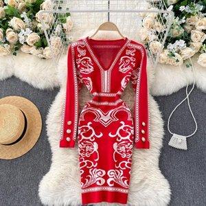 SINGRAINY Women Jacquard Knitted Dress Korean V Neck Long Sleeve Elastic Slim Pencil Dresses Winter Bodycon Sweater Short Dress1