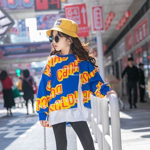 2021 New Children letter printed Sweatshirt Old Kids fake 2pcs Long sleeve Jumper Fashion Girls round collar Casual loose Tops 3-12T A5746