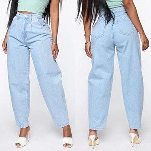 Женские джинсы 2021 мода с высокой талией светло-голубые брюки гарема промытые женские свободные повседневные винтажные мамы джинсовые брюки репы плюс размер 3XL