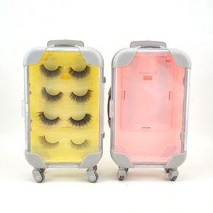 4 Pairs of Flase Eyelashes Empty Box without Eye lashes Suitcase Trolley Coloris Eyelash Makeup Case