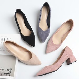 Весенние квадратные высокие каблуки женские туфли дамы сексуальные скольжения на солидных черных розовых бежевых стадо острые носки элегантные мягкие насосы 210520