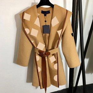 3 цвета классические женские длинные плащ моды писем печать длинное пальто девушки повседневная ветрозащитный 2020 зимняя одежда оптом