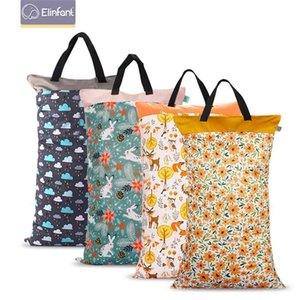 Elinfant 1 pcs Large Hanging Wet Dry Pail Bag for Cloth Diaper,Inserts,Nappy, Laundry With Two Zippered Waterproof diaper bag 210909