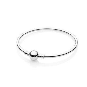 Sterling Silver Women Bangle With Original box Fashion Mens Bracelets Logo Stamped for Pandora beads Bracelet European Charms