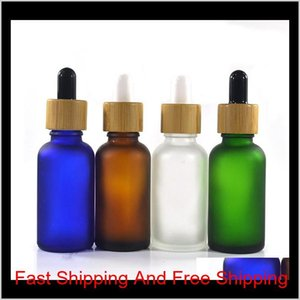 Storage Bottles Jars Essential Oil Glass Dropper With Lid Bamboo Serum Bottle Frosted Green Blue Amber Clear 10Ml 15Ml 20 30Ml 50Ml Ys Wzjxg