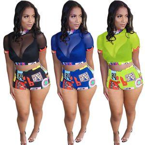 Two Piece Dress Women sexy club 2 piece sets designer tracksuit summer clothing mesh sheer short sleeve t shirt leggings slim mini shorts evening party 924