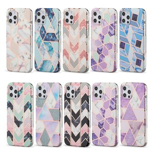 Gold Marble Inmold Decoration Chic and Scratch-Proof Phone Cases for iPhone 12 11 Pro Max XR XS X 8 7 Samsung S21 S20 Note20 Plus Ultra A51 A71 Rugged Cellphone Cover