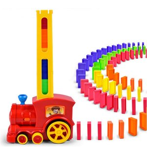 Children's puzzle building block toys domino car electric locomotive with sound and light automatic licensing