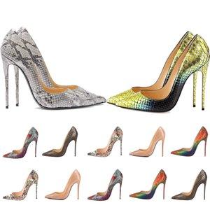 Mulheres Vermelho Bottom High Saltos apontados Dedos Luxurys Designers Sapatos Snake Pele Genuine Couro Bombas Senhora Sandálias Do Casamento