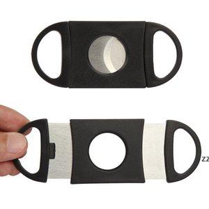 Portable Pocket Double Blades Cutter Knife Pocket Cigar Stainless Steel Scissors Shears Black 9*4 cm Cut Smoke Tool HWE9010
