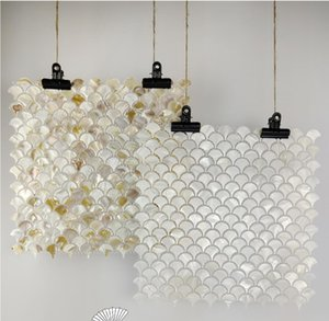 Natural shell mosaic self-adhesive tile TV background wall fan fish scale bathroom brick kitchen living room tiles