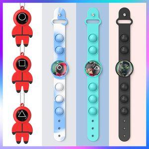 Squid Game Push its Pops Keychain Fidget Toys Bracelet Finger Bubble Decompression Toy