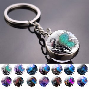 Fantasy Style Keychains Dragon Art Picture Glass Ball Key Chain Keyrings Pendant Keyholder Jewellery Wholesale Dropshipping