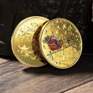 Santa Commemorative Gold Coins Decorations Embossed Color Printing Snowman Christmas gift Medal Wholesale OWD10434