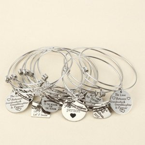 10pcs Random Charms Bracelet With Plate Heart Adjustable Extendable Bangle Hand Imprint Positive Inspirational Quote Cuff