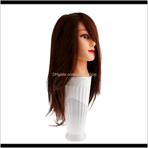 Heads Salon Barber Cosmetology Human Hair Practice Hairdressing Training Head Mannequin D85Rd Xqb6S