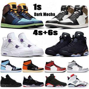 Баскетбольные туфли 1 1 1 Темные Mocha UNC 4 4S Металлический Зеленый Черный Кот Выведен 6 6S DMP Инфракрасные Мужские Женские Кроссовки