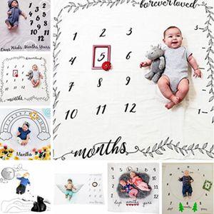 Baby Letter Flower Print Blankets Creative Soft Newborn Wrap Swaddling Fashion Milestone Blanket Photography Backdrops WLL713