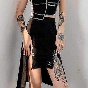 Skirts Punk Style Skirt Mall Goth High Waist Black Women Hip Hop Streetwear Dark Academia Ruched Midi Split Clubwear 2021