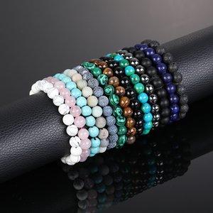 Kimter Tiger Eye Stone Beads Bracelet Men Women Elastic Natural Yoga Bracelets Volcanic Stones Bangle Couples Jewelry 13 Styles K20FA