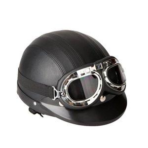 Motorcycle Helmets Open Face Half Helmet, Universal Scooter Synthetic Leather Helmet & Visor UV Goggles