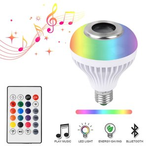 E27 Smart LED Light RGB Wireless Bluetooth Speakers Bulb Lamp Music Playing Dimmable 12W Music Playing Lamp for Party Home Xmas