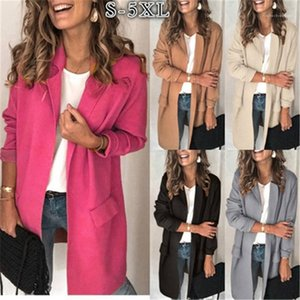 Women's Suits & Sleeve Lapel Mid-length Blazers Female Winter Fake Pocket Casual Loose Coats Women Solid Color Cardigan Suit Jacket Fashion Trend Long