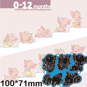Painting Supplies Metal Cutting Dies Baby Elephant Child Health Growth Scrapbook Paper Decoration Template Embossing DIY Card Craft