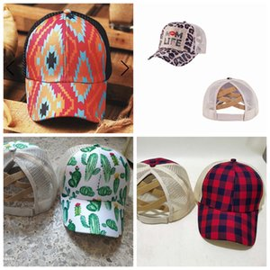 Adjustable Baseball Ball Caps Unisex Snapbacks Criss Cross Ponytail Holder Mesh Hats Sunflower Plaid Leopard 13 Styles Print by sea LLA649