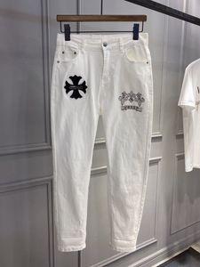 Marque de mode Cross HOT Perceuse coréenne Jeans blancs Crosin Slim Leggings Slim Pantalons
