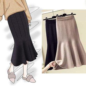 Skirts Retro Women Knit High Waist Fish Tail Skirt Fall Winter Fashion Slim Skinny Jupe Femme Plus Size Extra Elasticity Faldas Y918