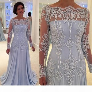 Long Sleeves Formal Mother Of The Bride Groom Dresses Off Shoulder Appliques Lace Pearls Evening Gowns Plus Size Customize