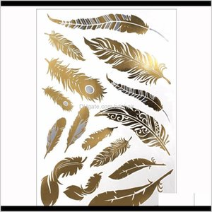 Tattoos Body Art Health & Beauty Drop Delivery 2021 1Pcs Flash Metallic Waterproof Gold Sier Women Fashion Henna Peacock Feather Design Tempo