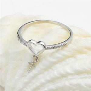 Сердце болтает жемчужные кольца Настройки с боковыми камнями Zircon 925 стерлингового серебра DIY ювелирные изделия