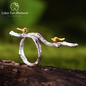 Cluster Rings Lotus Fun Moment Real 925 Sterling Silver Vintage Ring Fashion Jewelry Bird On Branch For Women Drop Ship Product Supplier