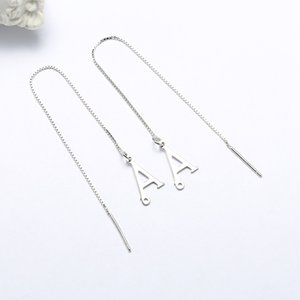 S925 Sterling Silver Letters Hanging Earrings Female Japanese and Korean Simplicity and Personality All-Match Jewelry Cross-Border