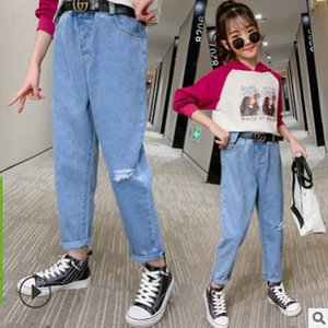 Girls Loose Jeans New 2021 Autumn and Spring Kids Leisure Trousers Children's Active Pants Denim Blue Color Size6-14 Jeans ly133