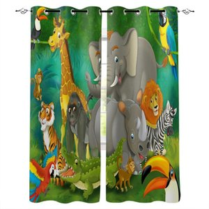 Curtain & Drapes Animal Elephant Lion Crocodile Jungle Parrot Pattern Window Curtains Polyester Fabric Living Room Home Decor