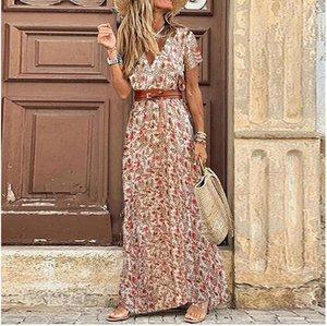 إمرأة الزهور خمر بوهو فستان طويل طباعة الخامس الرقبة قصيرة الأكمام أنيقة اللباس البوهيمي vestidos زائد حجم فساتين الملابس