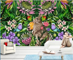 WDBH 3d wallpaper custom photo mural Hand drawn tropical plants flowers and birds animals in the living room home decor 3d wall murals wallpapers for walls 3 d