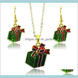 Drop Delivery 2021 Fashion Jewelry Gold Plated Green Christmas Gifts For Women Charms Earrings Necklace Sets Sdtz0013 Dtbto