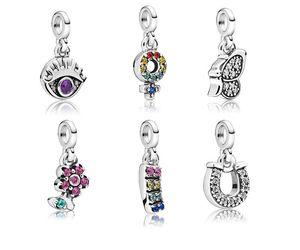 Se adapta a PANDORA Pulsera de plata esterlina Pavo de pavo Lollipop Lollipop Herradura Herradura Cuelga Cuentas Encantos para la serpiente europea Charm Chain Fashion DIY Jewelry