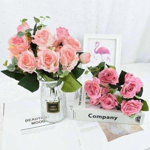 Multicolor té rosas de seda artificial flor de seda novia ramo de boda fiesta decoración casera jardín bricolaje decoración falsa suministros 75 flores decorativas