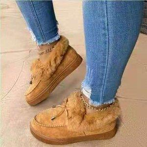 Boots Winter Women's Shoes Cotton Bowknot Plush Warm Snow Ladies Casual Flat Short Solid Color Fuzzy
