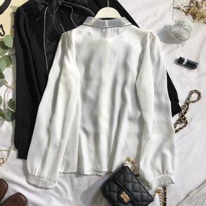 Women's Blouses & Shirts 2021 Spring Autumn Elegant Lace Up Bow Blouse Women Lantern Long Sleeve Solid Chiffon Shirt Slim Fit Blusas 47027