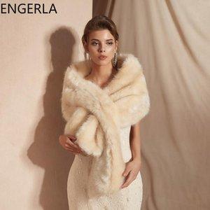 Envolturas Chaquetas 2021 Collar de piel sintética Bufanda de alta calidad Moda de lujo Otoño e invierno Calor Calor Bridal Vestido de novia Cape de chal