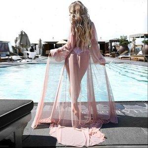 Sexy Damen Women Shirt Chiffon Bikini Cover Up Boho Badeanzug Bademode Strand Long Maxikleid Summer Mesh Sarong