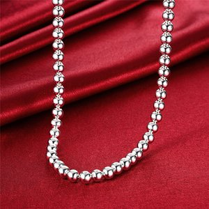 925 Sterling Silver 4mm 8mm 10mm Smooth Beads Ball Chain Necklace For Women Trendy Wedding Engagement Jewelry Drop Shipping 1577 V2