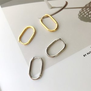 FactoryBFFD line 925 pure silver simple U-shaped geometric Oval Earrings for men and women
