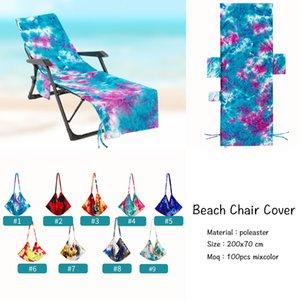 Housse de chaise de plage à colorant avec poche latérale Chaises de chaise longue Couvertures Couvertures Sun Lounger Sunbather Jardin Absorption d'eau libre DHL HH21-292